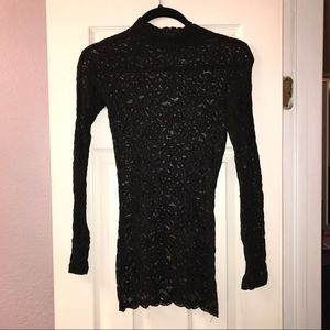 NWT black long sleeve floral lace mini dress